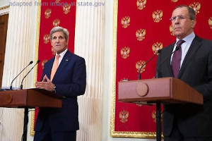 File Photo of John Kerry and Sergei Lavrov at Podiums