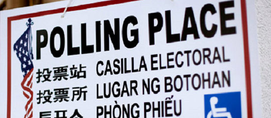Multilingual Polling Place Sign from U.S. Election Polling Place