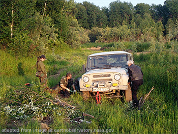 File Photo of People Working on Car in Siberian Woodlands