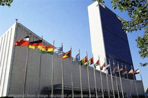 File Photo of UN Building with Flags