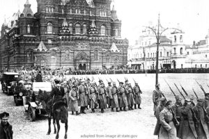 File Photo of Revolutionaries Marching in Moscow in 1917, adapted from image at state.gov