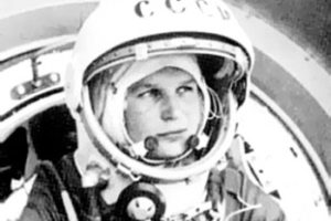 File Photo of Valentina Tereshkova in Space Suit with Helmet Open, adapted from image at starchild.gsfc.nasa.gov