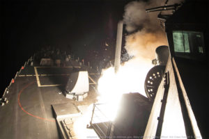 U.S. Naval Vessel Firing Tomahawk Cruise Missile at Night