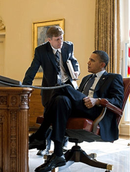 File Photo of Michael McFaul Standing and Barack Hussein Obama Sitting at Desk, adapted from image at whitehouse.gov