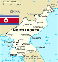 North Korea Map and Flag, adapted from .gov image
