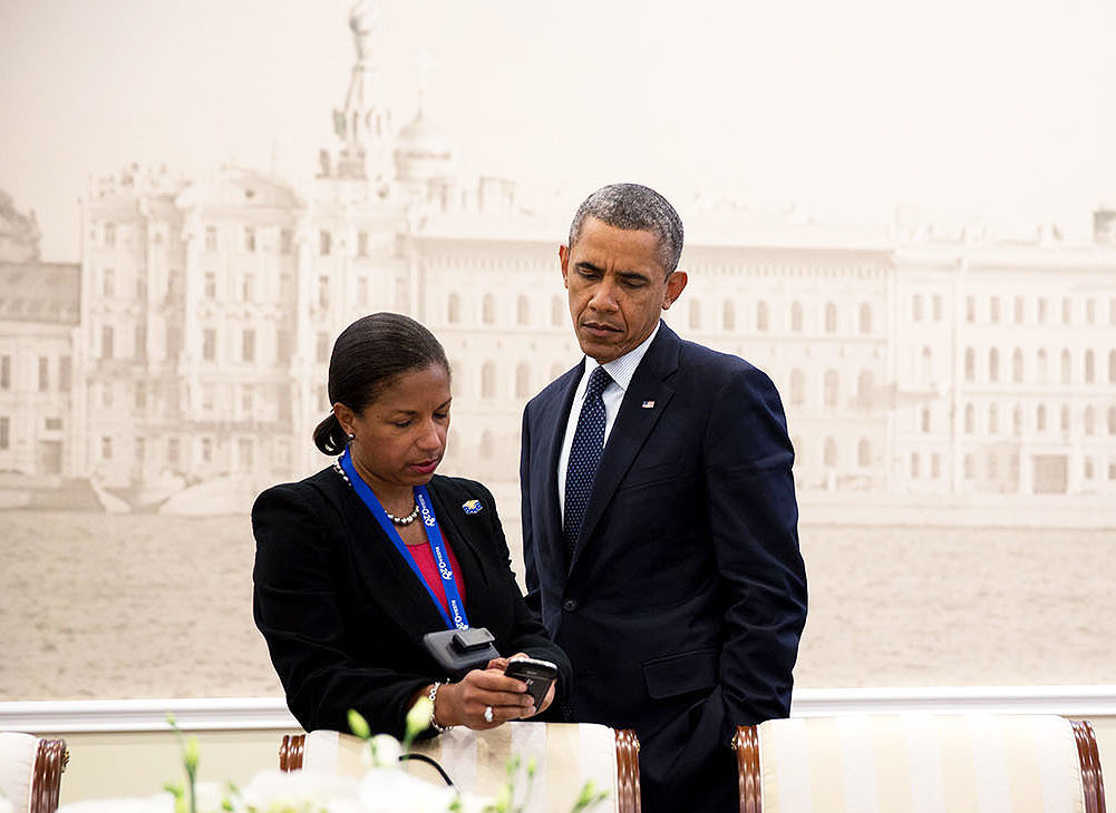 File Photo of Susan Rice and Barack Hussein Obama in St. Petersburg Russia, with Mural of St. Petersburg Scene in Background, adapted from image at whitehouse.gov