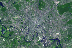 Moscow Aerial View Satellite Image File Photo, adapted from image at jpl.nasa.gov