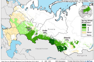File Image, Map of Russian Wheat Production by Region, adapted from image at usda.gov