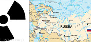 Montage of Radioactivity Symbol and Russian Map with Russian Flag, adapted from images at .gov sites