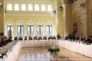 File Photo of Valdai Club Gathering at Long Tables in Large Hall