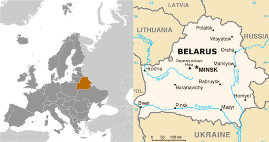 Map of Belarus and Environs, adapted from images at cia.gov
