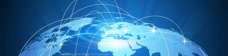 File Image of Artist's Conception of Globe with Curved Connecting Lines of Light Passing Through Space, adapted from image at fincen.gov