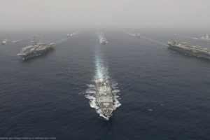 File Photo of Poritions of U.S. Navy Carrier Groups Lincoln and Stennis in Mediterranean, adapted from defense.gov image relating to defense.gov video