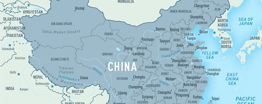Map of China and Environs, adapted from image at cdc.gov