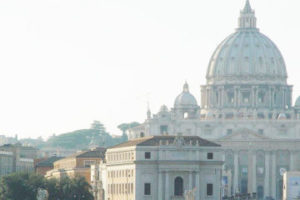 View of St. Peter's Basilica at Vatican with River and Bridge in Foreground, adapted from image at cia.gov