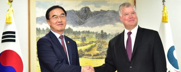 File Photo of Stephen Biegun Shaking Hands with ROK Unification Minister, from image featured at state.gov