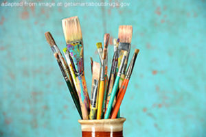 File Photo of Paint Brushes in Cup Adapted from Image at getsmartaboutdrugs.gov