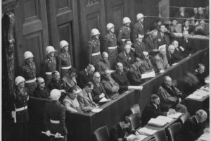 Nuremberg Trials Courtroom Scene, adapted from image at archives.gov