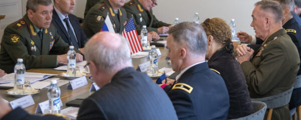 File Photo of U.S.-Russian Senior Military Meeting, adapted from image at defense.gov with photo credit to Dominique A. Pineiro