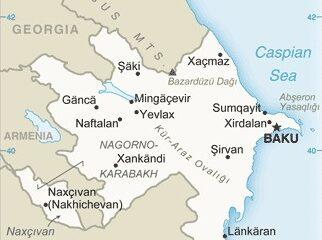 Map of Azerbaijan and Environs, adapted from image at cia.gov