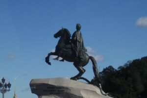 File Photo of Statue of Peter the Great on Horse Atop Rock in St. Petersburg, Russia, adapted from image at cia.gov