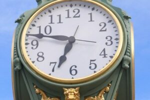 File Photo of Decorative Historic Outdoor Clock on Post, adapted from image at nps.gov, with photo credit NPS Photo/Daphne Yun