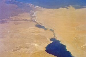 Suez Canal and Environs Aerial File Photo, adapted from image at nasa.gov