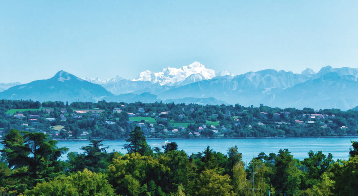 File Photo of Geneva, Lake and Mountains, adapted from image at usmission.gov